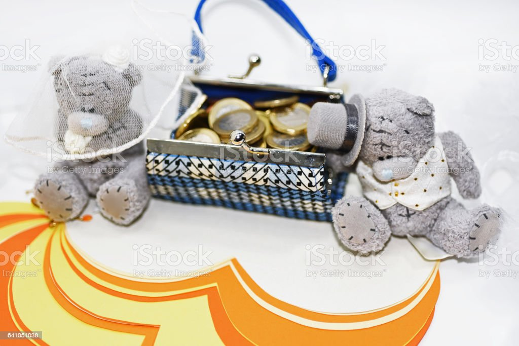 Two Teddy Bears in wedding abstraction. stock photo