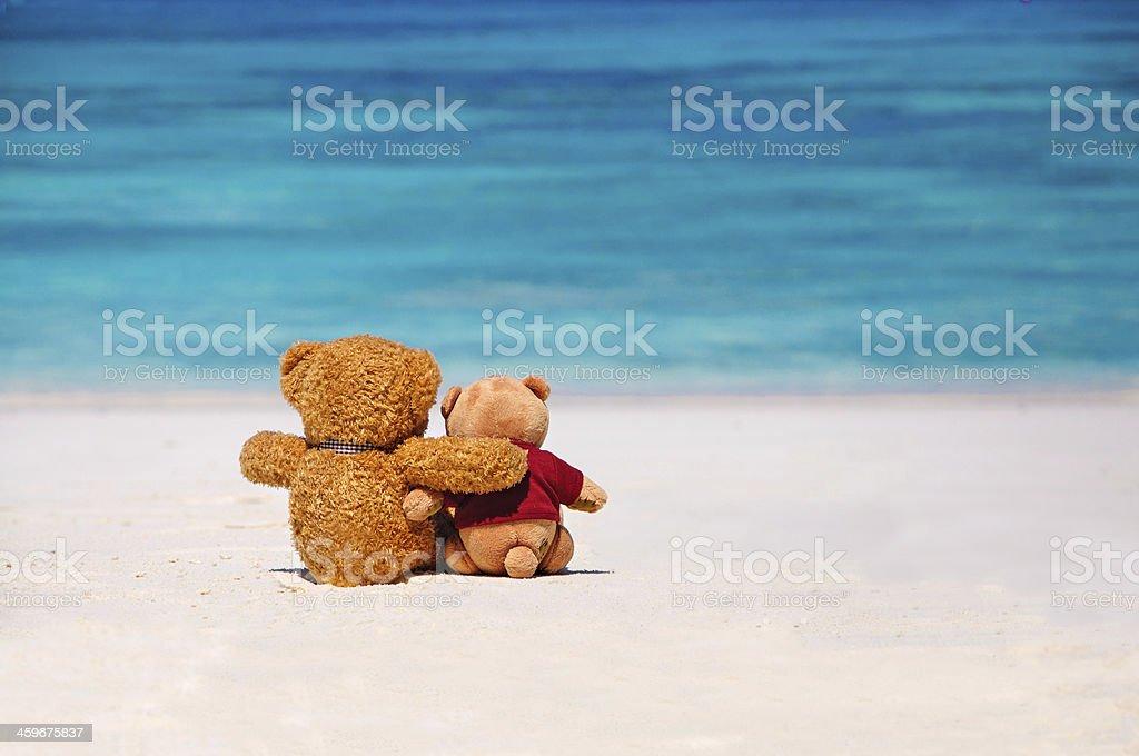 Two teddy bears sitting on the beach stock photo