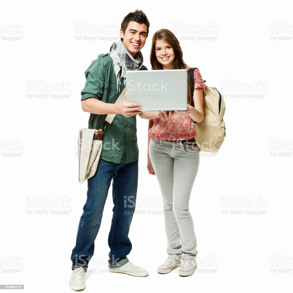 Two Teen Students Using a Laptop royalty-free stock photo