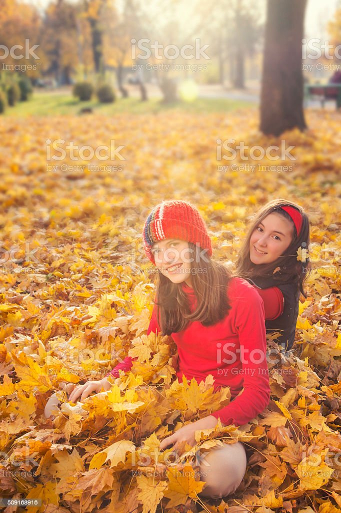 Two teenage among yellow leaves royalty-free stock photo