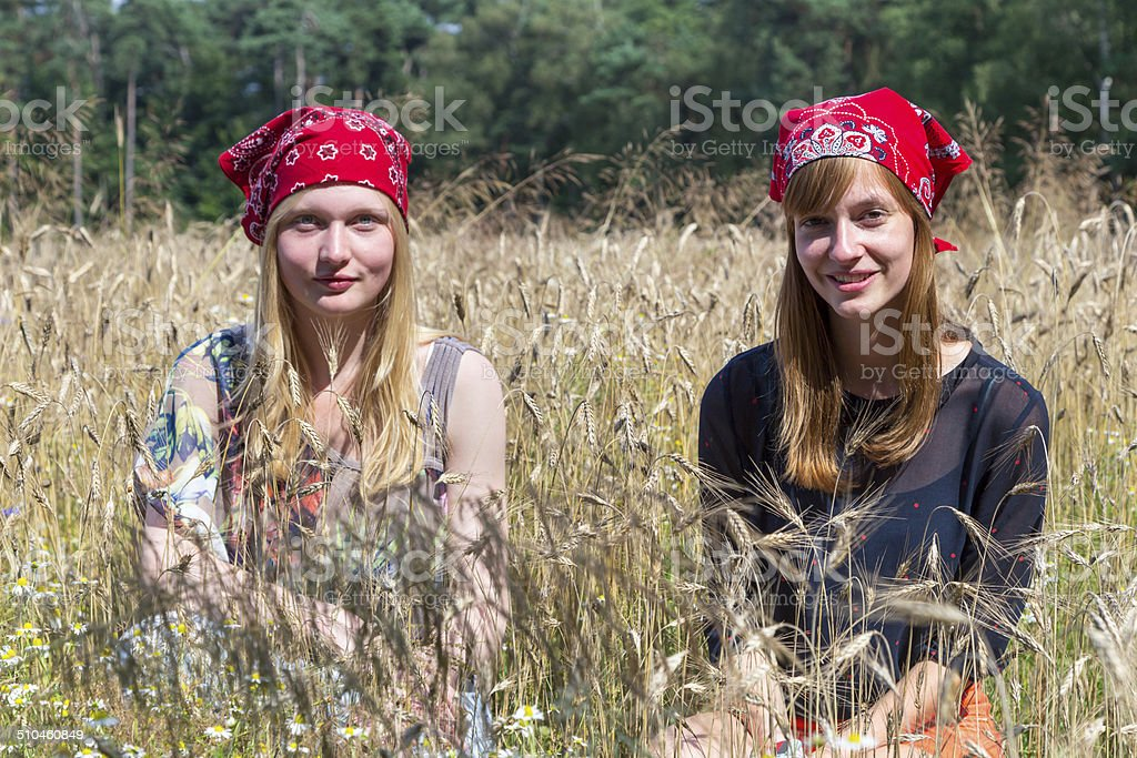 Two teenage girls sitting in corn field stock photo