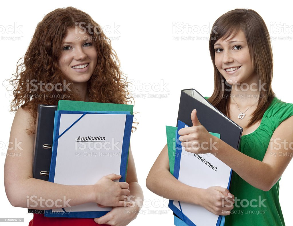 Two teenager with application briefcase royalty-free stock photo