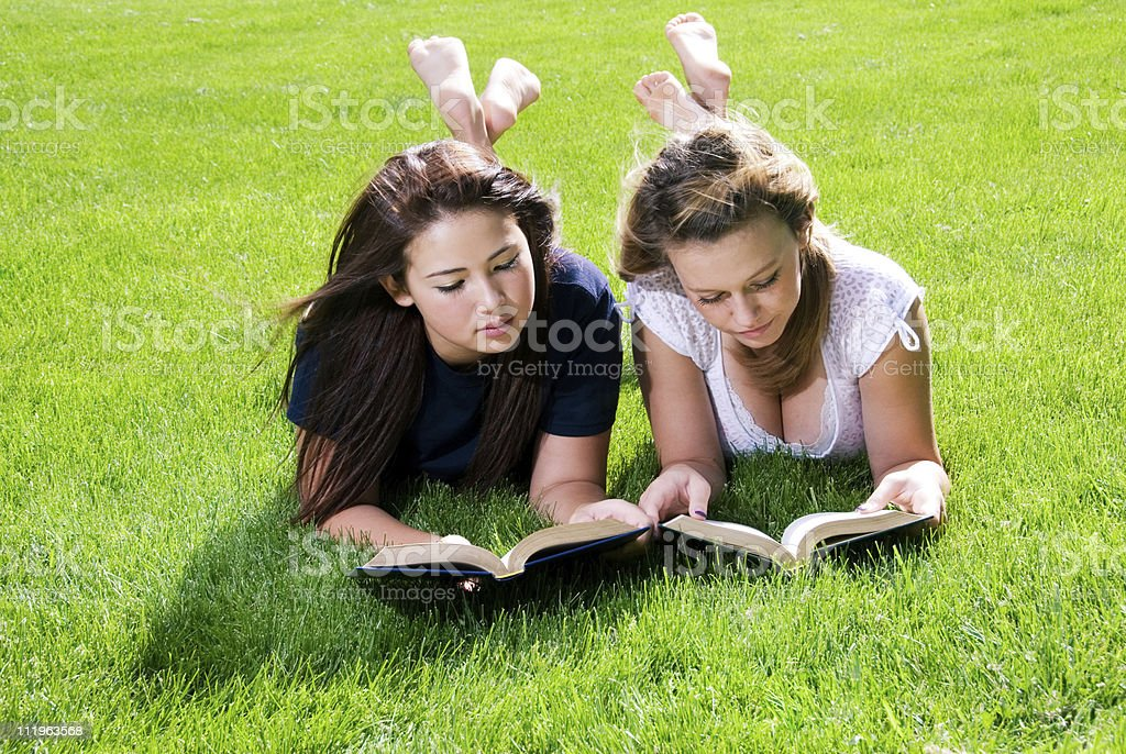 Two teenagers reading laying on the grass stock photo