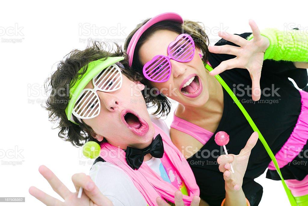 Two Teens Disco Dancing Singing royalty-free stock photo