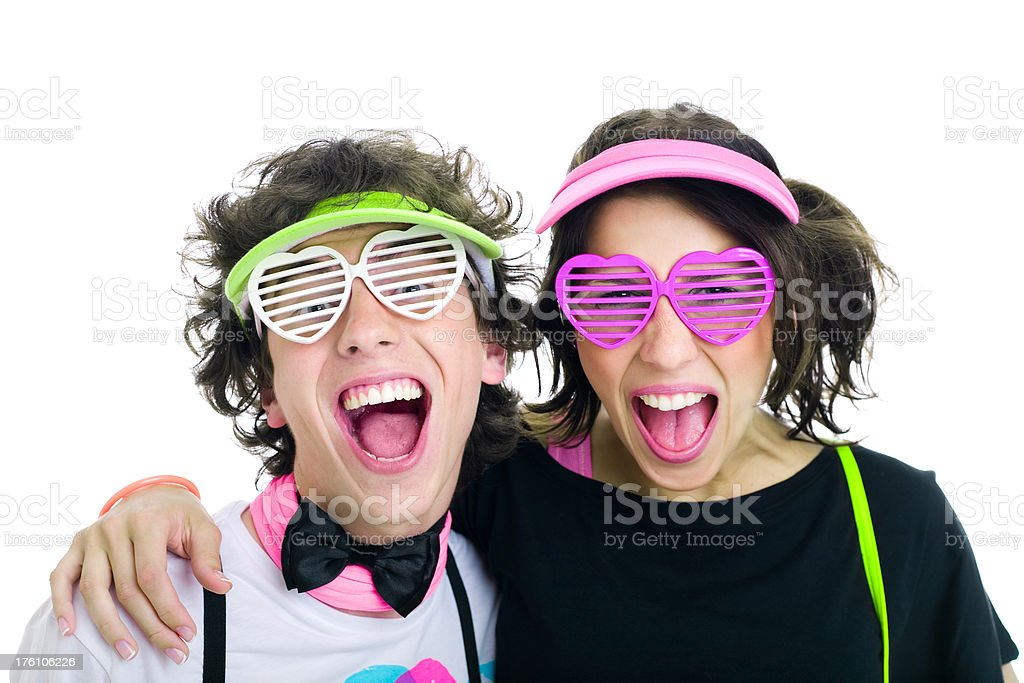 Two Teens Disco Singing royalty-free stock photo