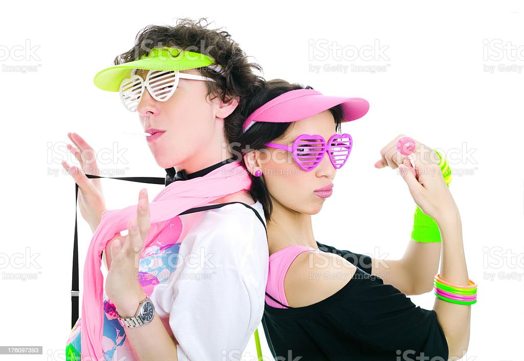 Two Teens Modeling 80's Fashion royalty-free stock photo
