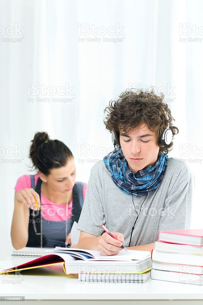 Two Teens Studying royalty-free stock photo