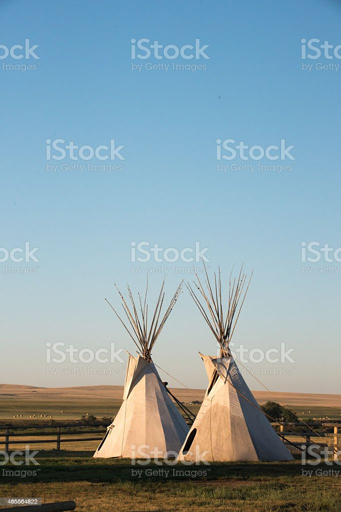 Two Teepees stock photo
