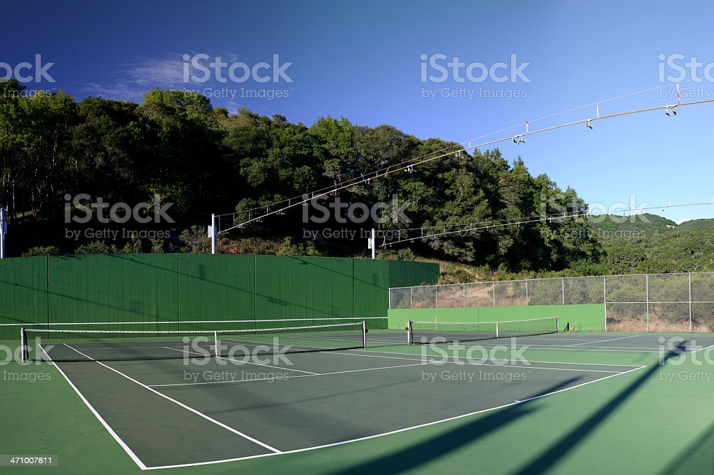 Two tennis courts stock photo