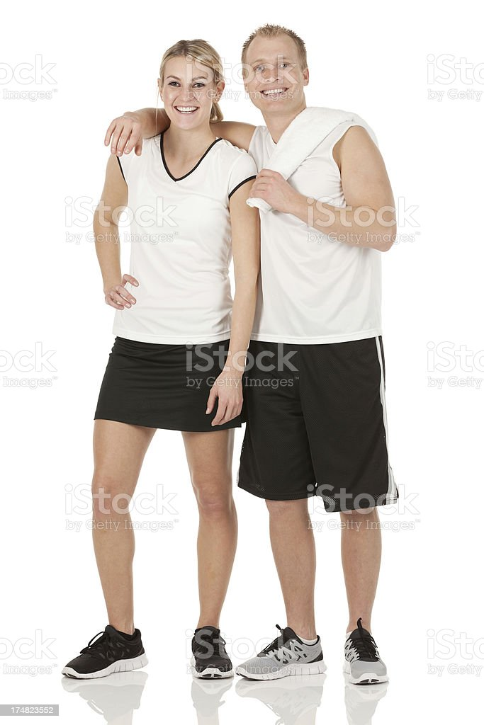 Two tennis players smiling and posing stock photo