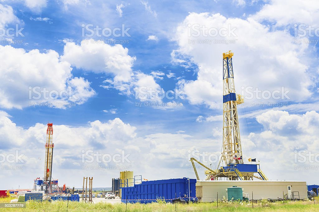 Two Texas Shale Oil Rigs at Daytime stock photo