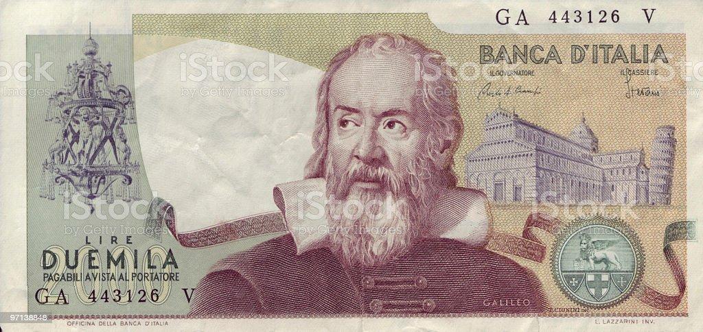 Two Thousand Lire Bill (retired) stock photo