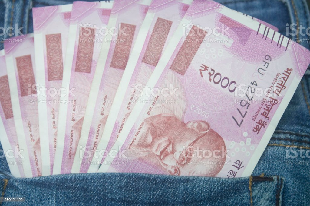 two thousand rupees indian stock photo