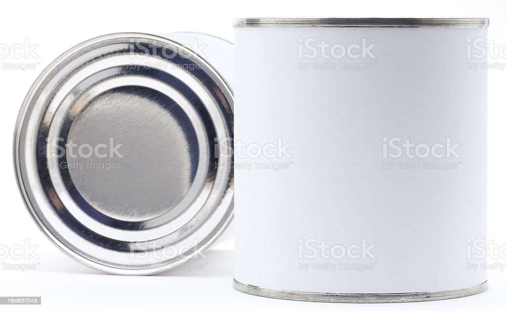 Two tin cans with bank labels isolated royalty-free stock photo