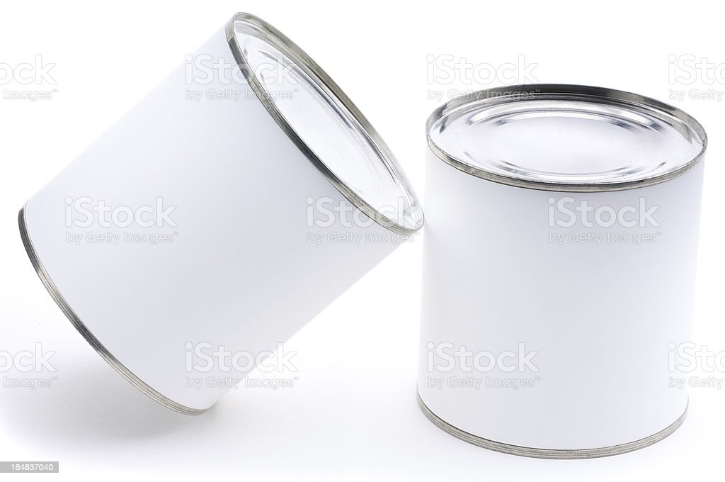 Two tin cans with blank labels isolated royalty-free stock photo
