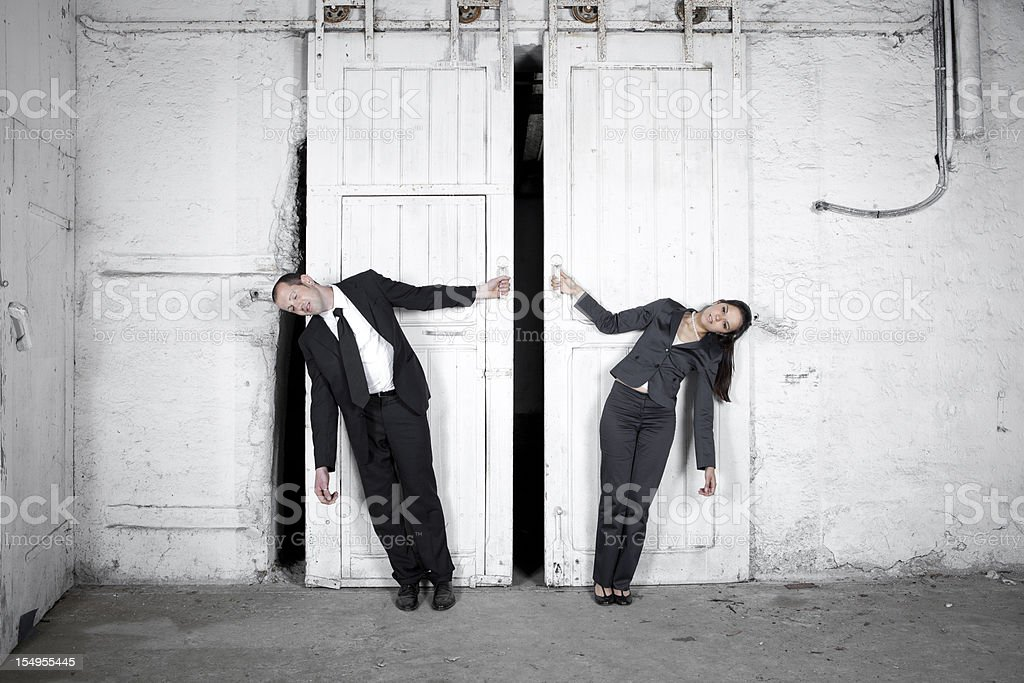 Two tired business people royalty-free stock photo