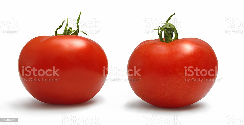 Two tomatoes (with Clipping Path) stock photo
