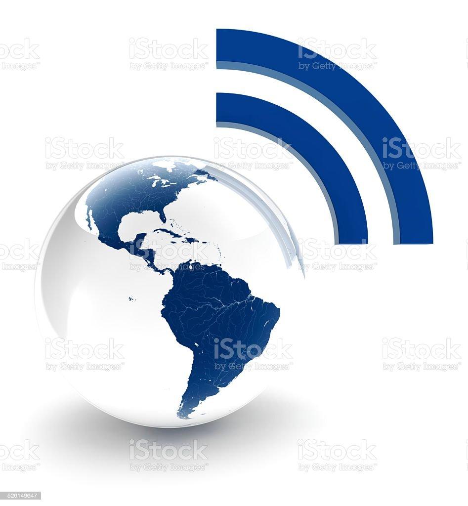 Dois tons de mundo com Wifi símbolo foto royalty-free