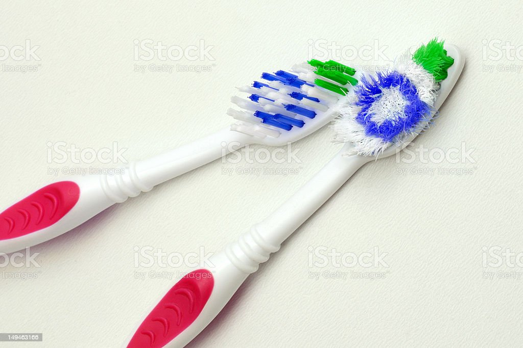 Two toothbrushes, old and new royalty-free stock photo
