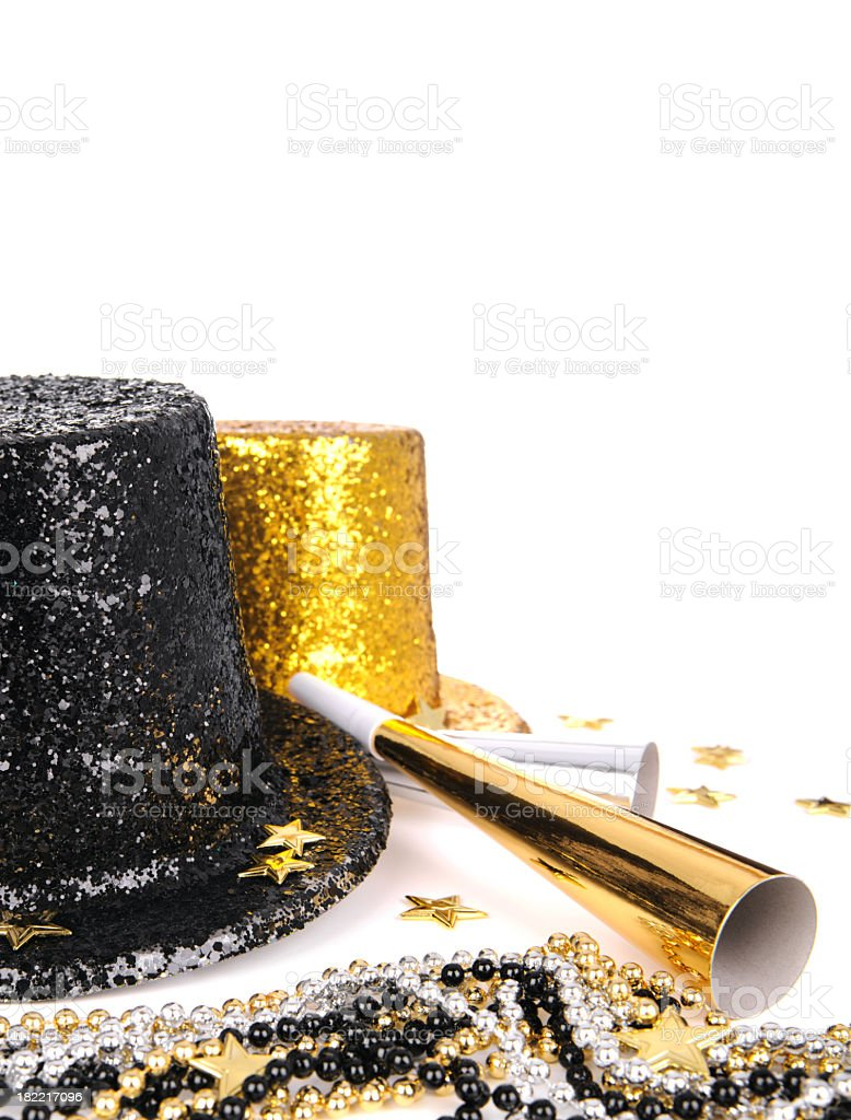 Two top hats and horns for New Year's Eve royalty-free stock photo