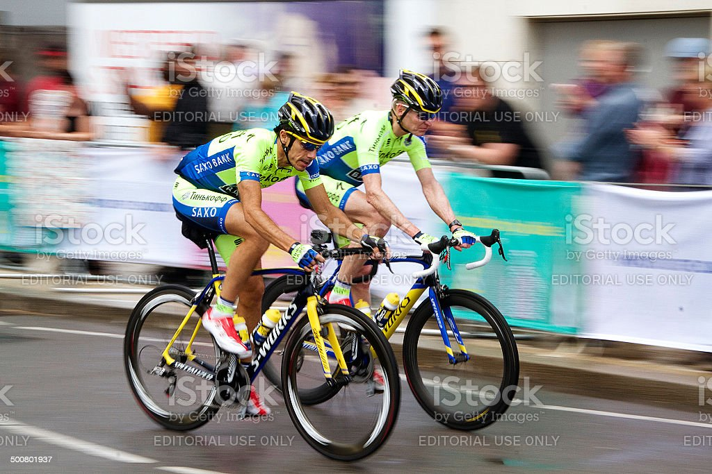 Two Tour de France Cyclists in London stock photo