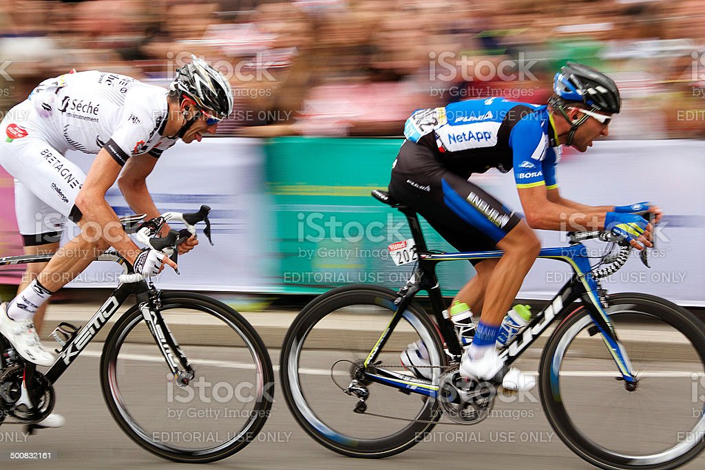 Two Tour de France Cyclists in London (2014) stock photo