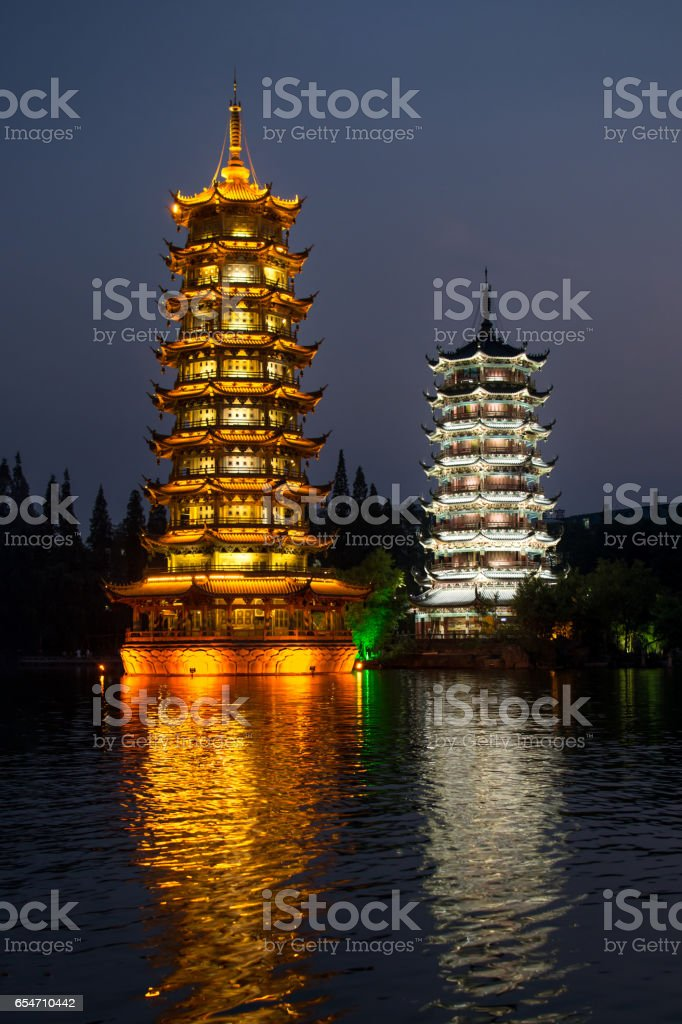 Two towers in Guilin city, China stock photo