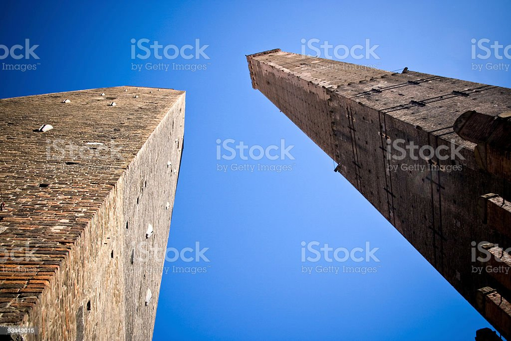 Two towers of Bologna stock photo