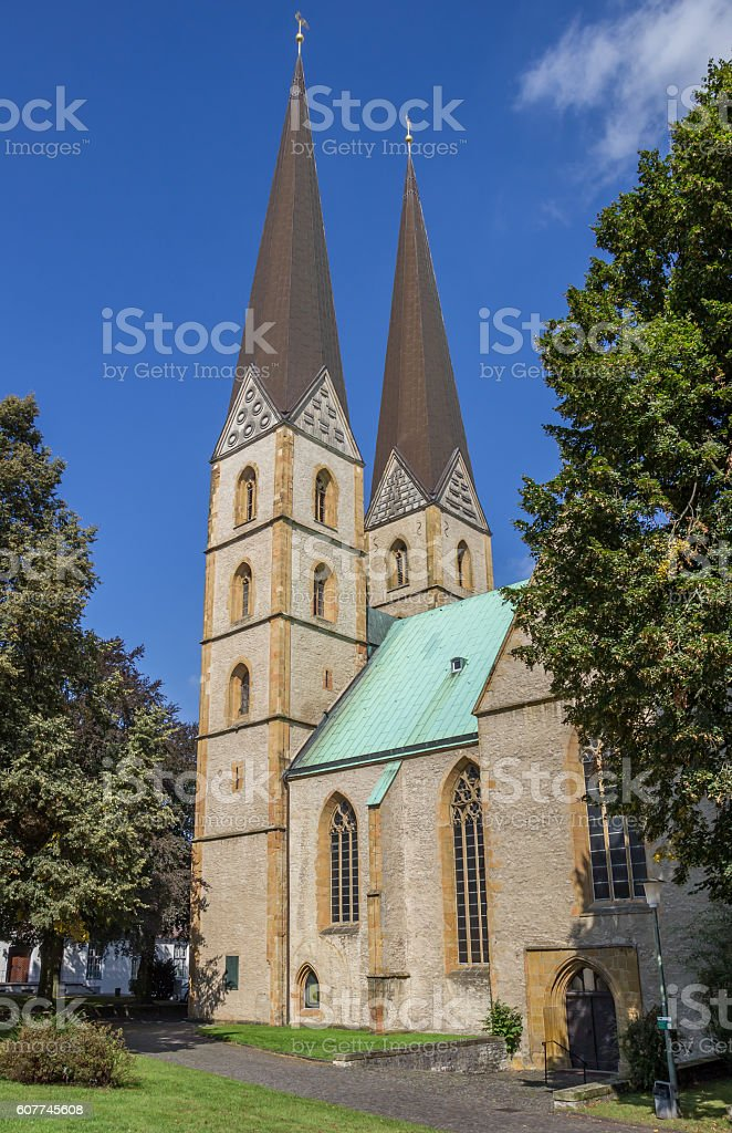 Two towers of the Marien church in Bielefeld stock photo