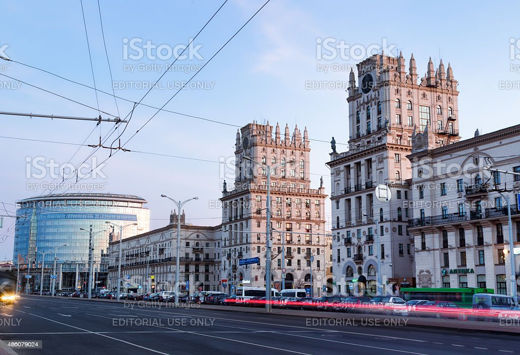 Two towers on Railway station square in Minsk. stock photo