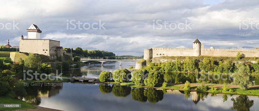 Two towers on the border of Estonia and Russia stock photo