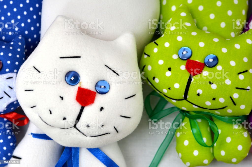Two toy cats stock photo