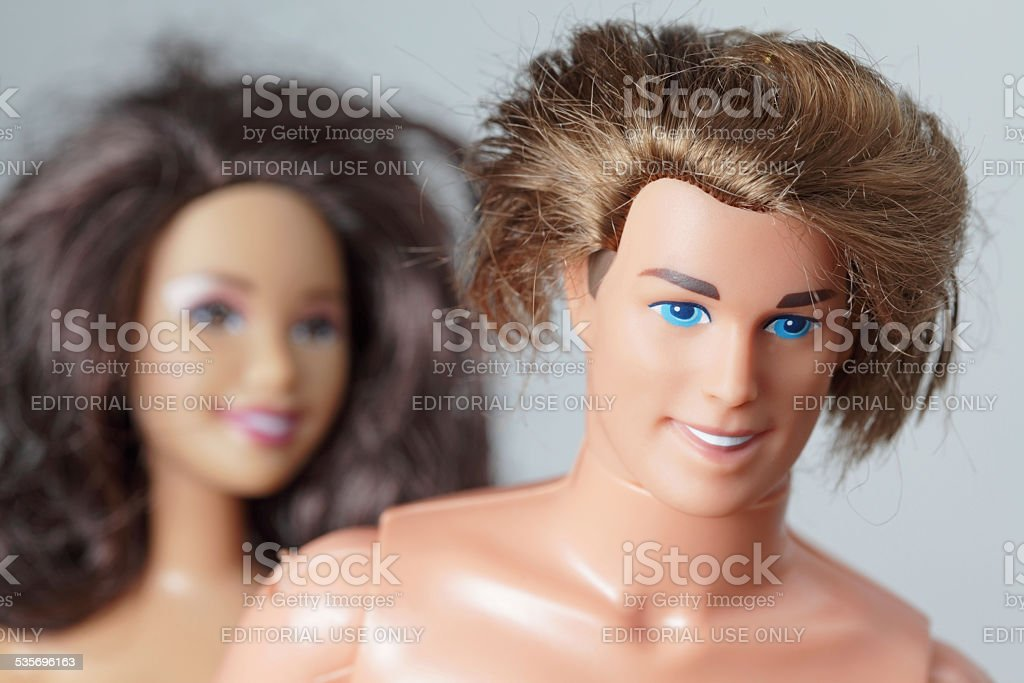 Two toy dolls Teresa and Ken friends of Barbie stock photo
