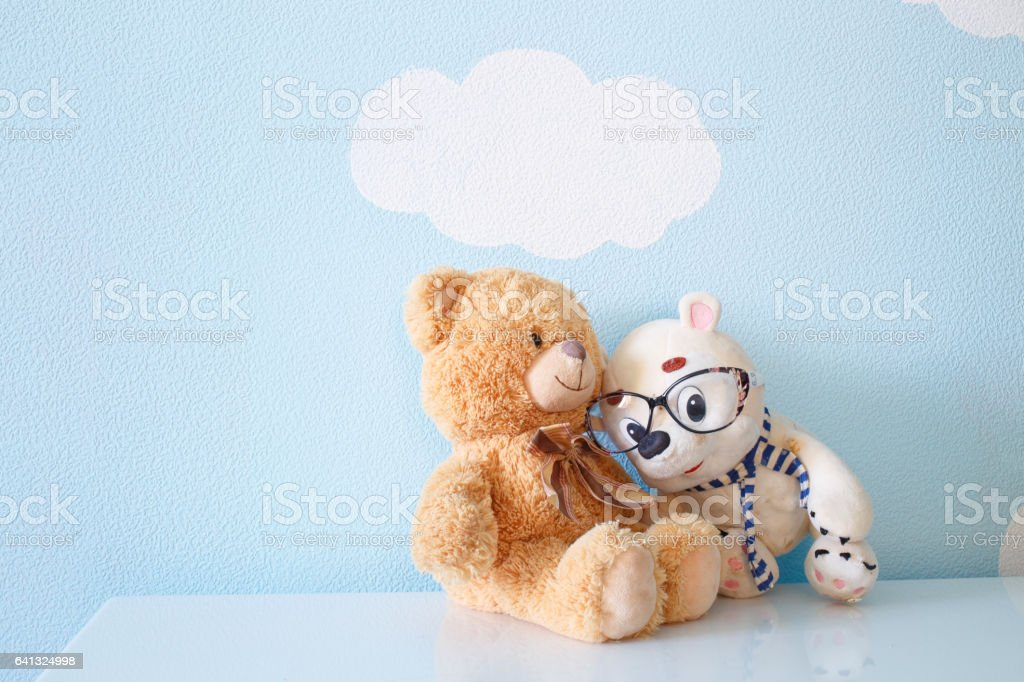Two toys bear stock photo