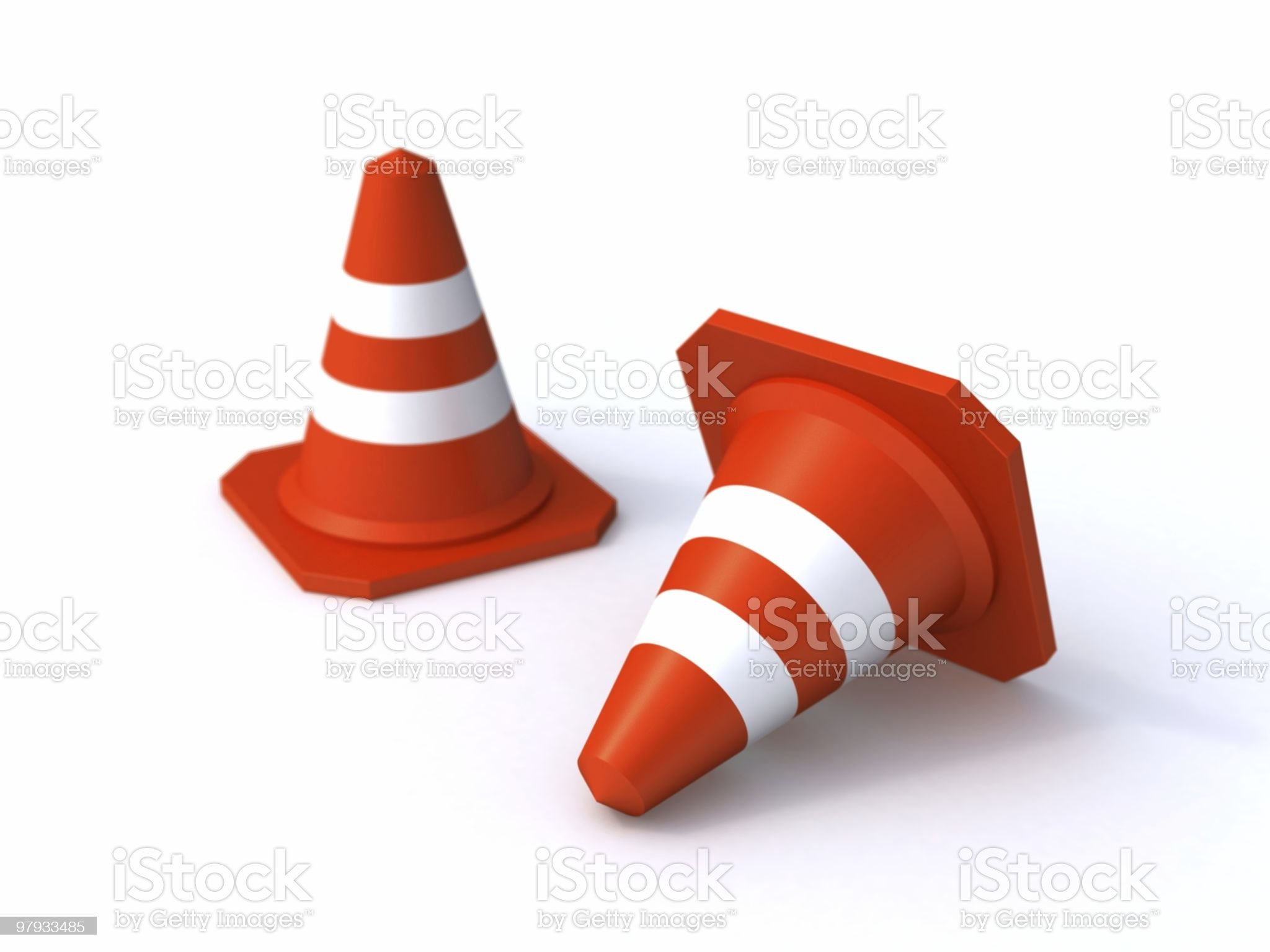 Two traffic cones royalty-free stock vector art