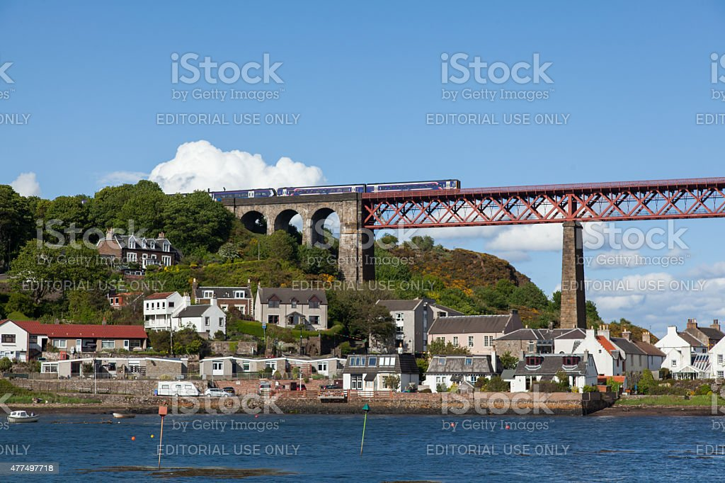 Two trains coupled together stock photo