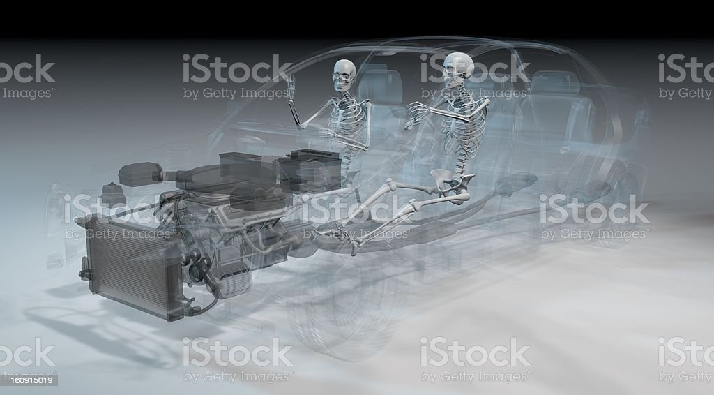 Two Transparency woman driving in a car royalty-free stock photo