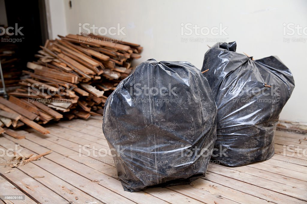 Two trash bags stock photo