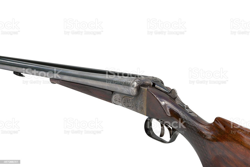 two trigger old shotgun isolated on white royalty-free stock photo