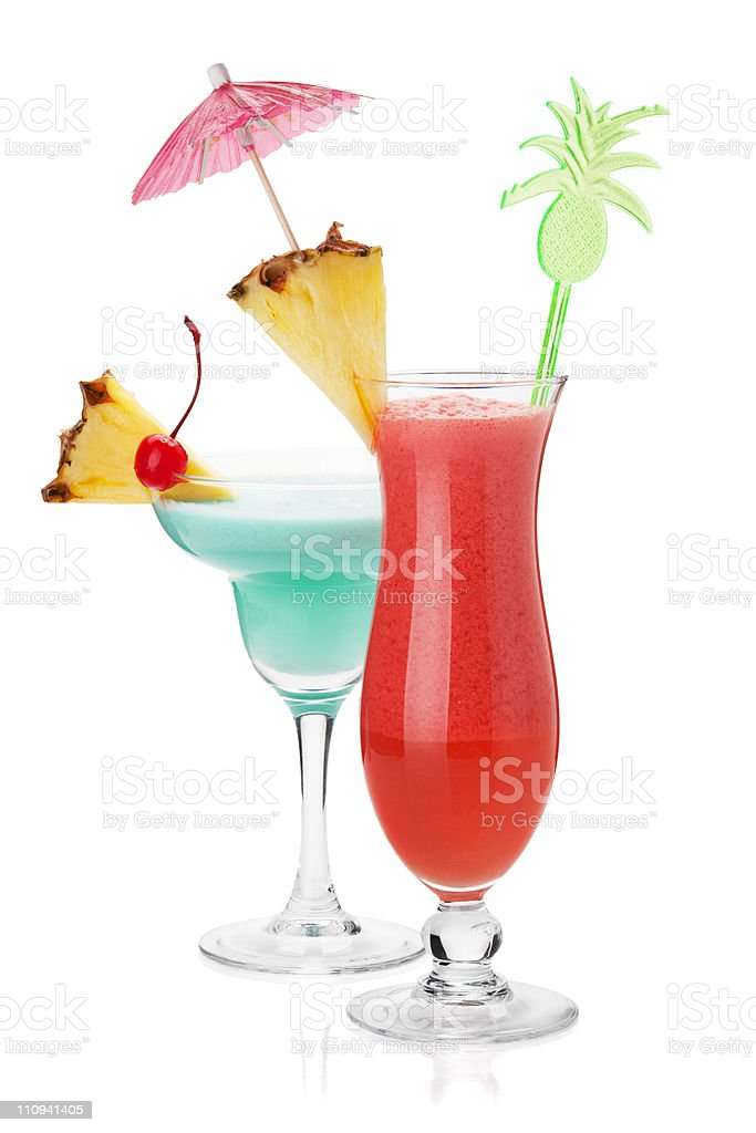 Two tropical cocktails stock photo