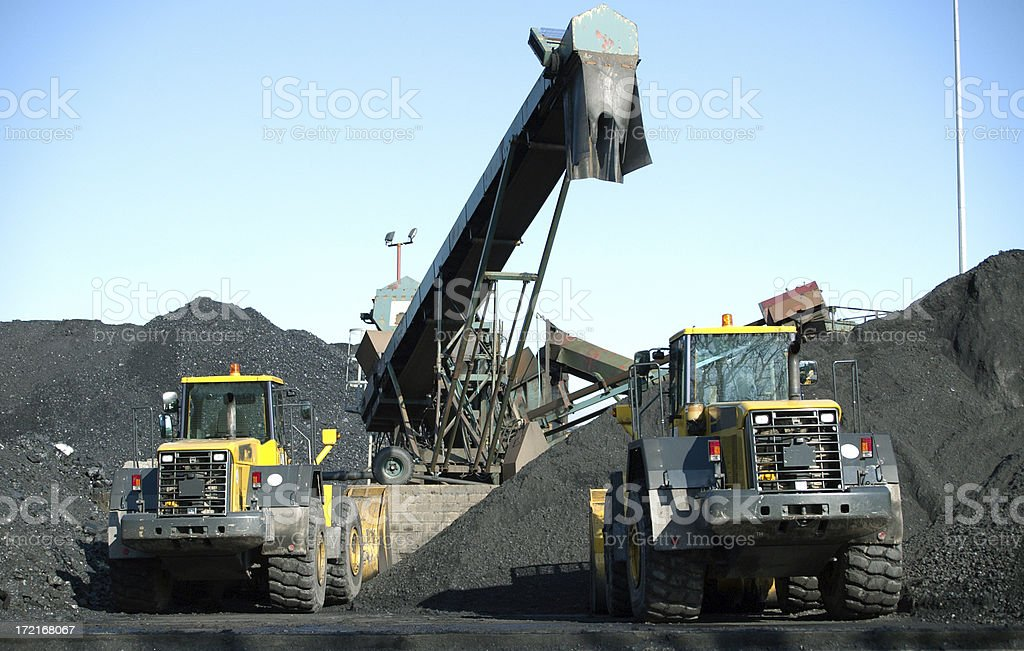 two trucks and coal royalty-free stock photo