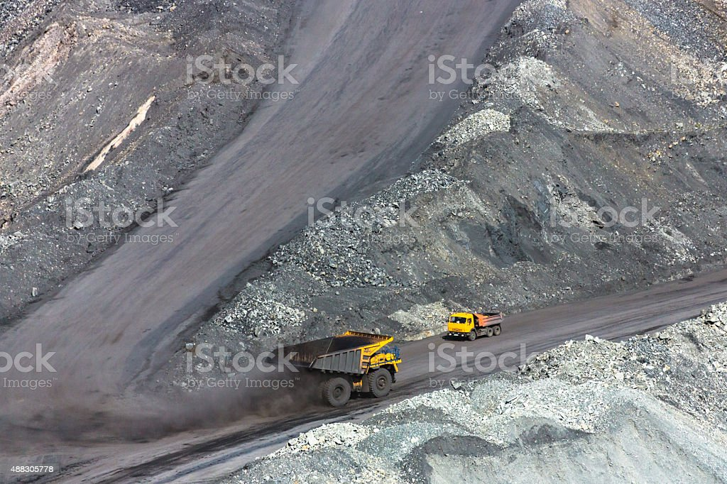 Two Trucks in the Pit Mine stock photo