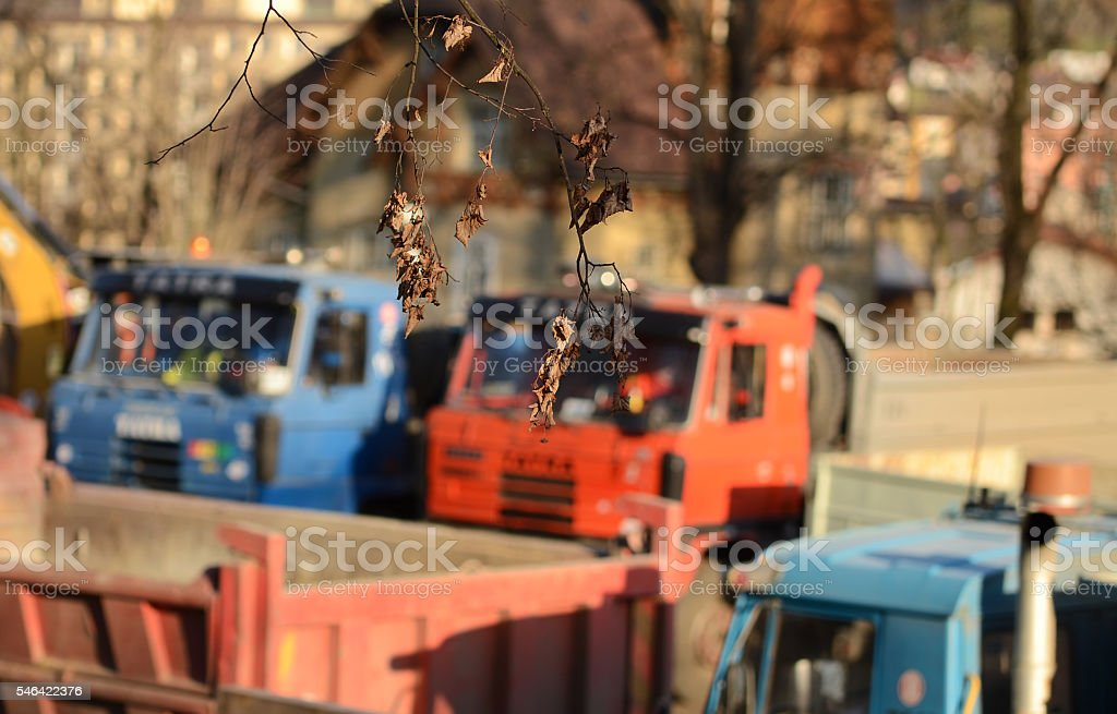 Two trucks outside the depth of field stock photo