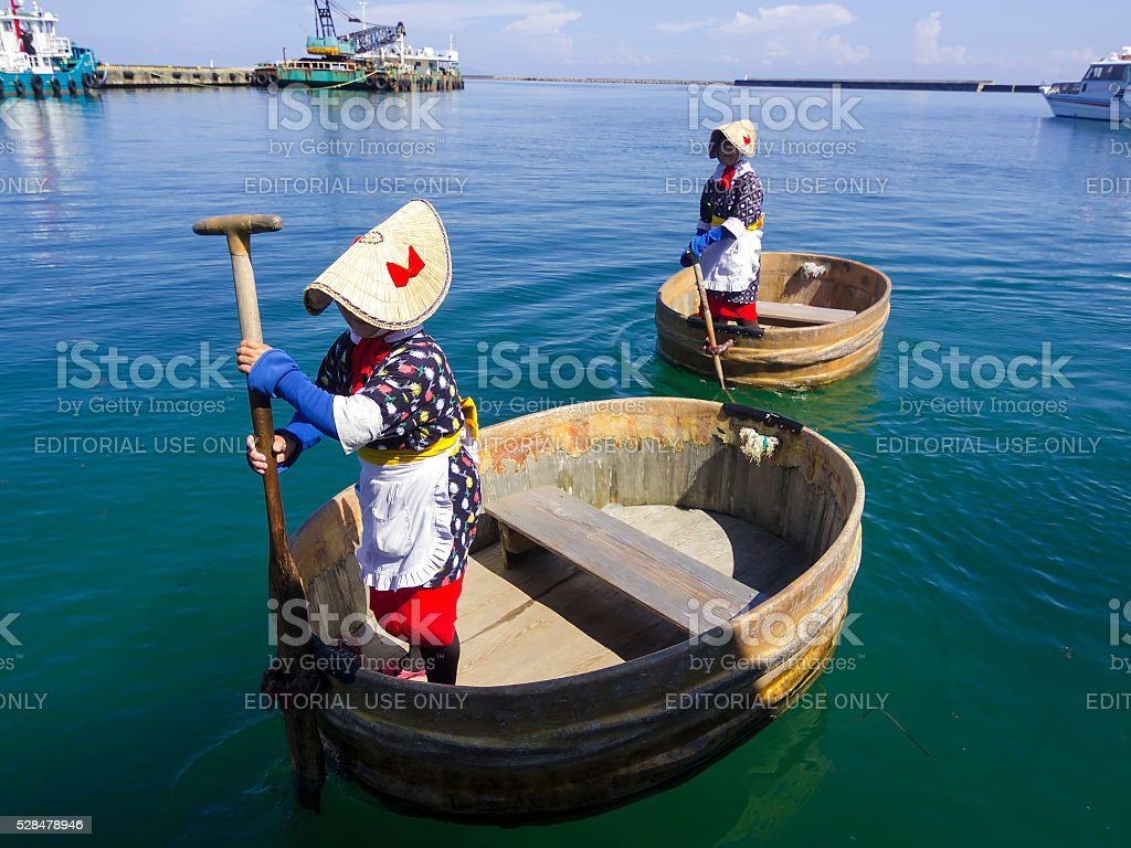 Two Tub-shaped boat in japan sea stock photo