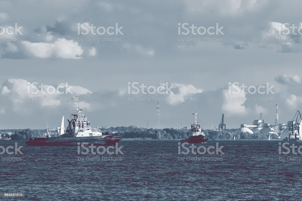 Two tug ships stock photo
