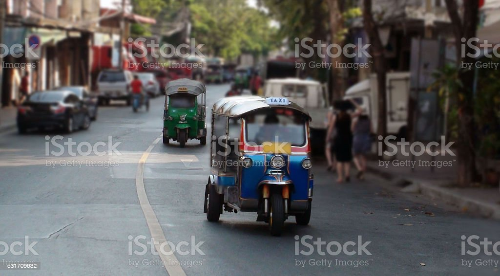 Two Tuk Tuk Taxi On The Road In Bangkok.Thailand.Southeast Asia stock photo