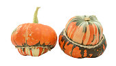 Two turban squash, one with stem, one showing striped gourd