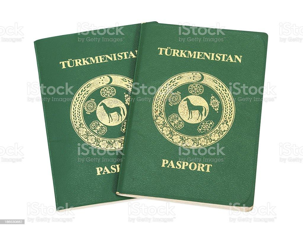 Two Turkmenistan passports isolated on white background stock photo