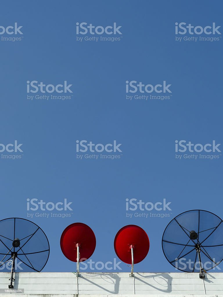 Two type Satellite dish vertical royalty-free stock photo