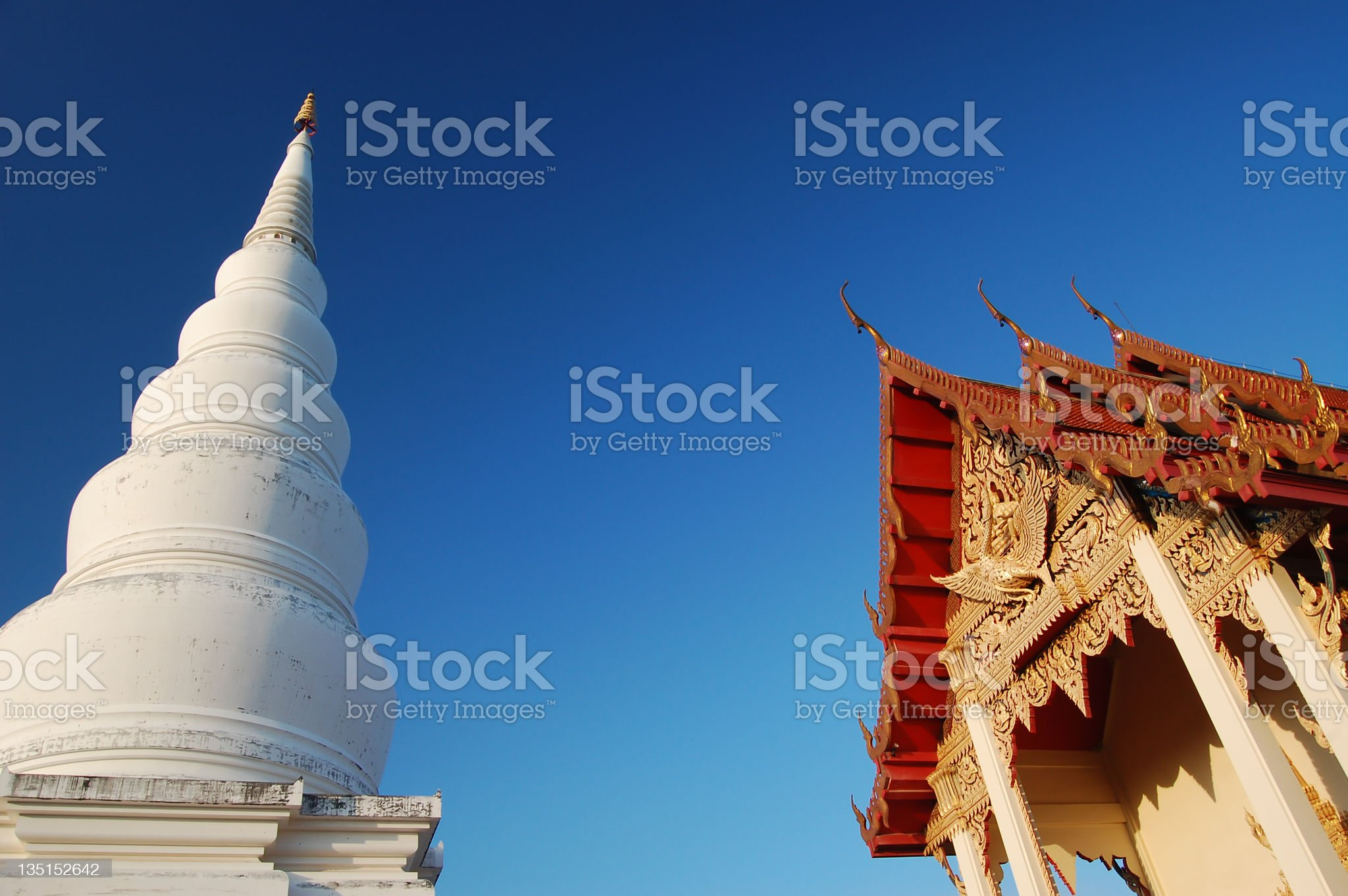 two type Temple with blue clear sky in thailand royalty-free stock photo